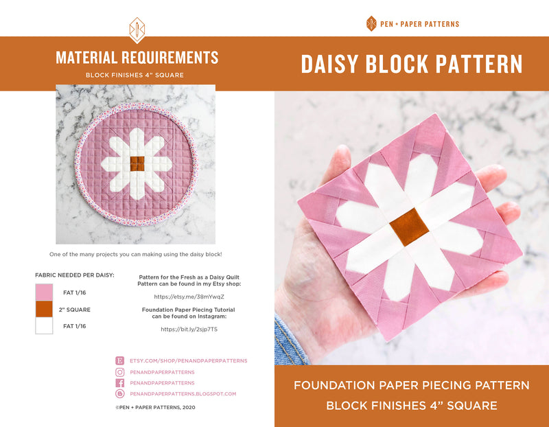 PDF Fresh as a Daisy Mini FPP Block Pattern