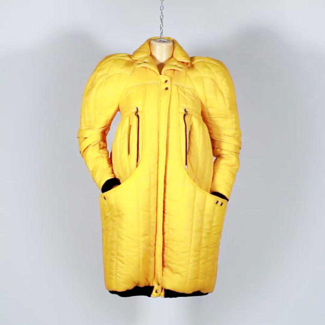 EXCLUSIVE TOM VAN DER BORGHT Yellow puffy jacket from final year collection polyester