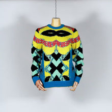 Load and play video in Gallery viewer, EXCLUSIVE TOM VAN DER BORGHT Knitted sweater base yellow blue black in wool