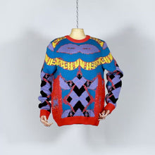Load and play video in Gallery viewer, EXCLUSIVE TOM VAN DER BORGHT Knitted sweater base purple blue yellow orange in wool