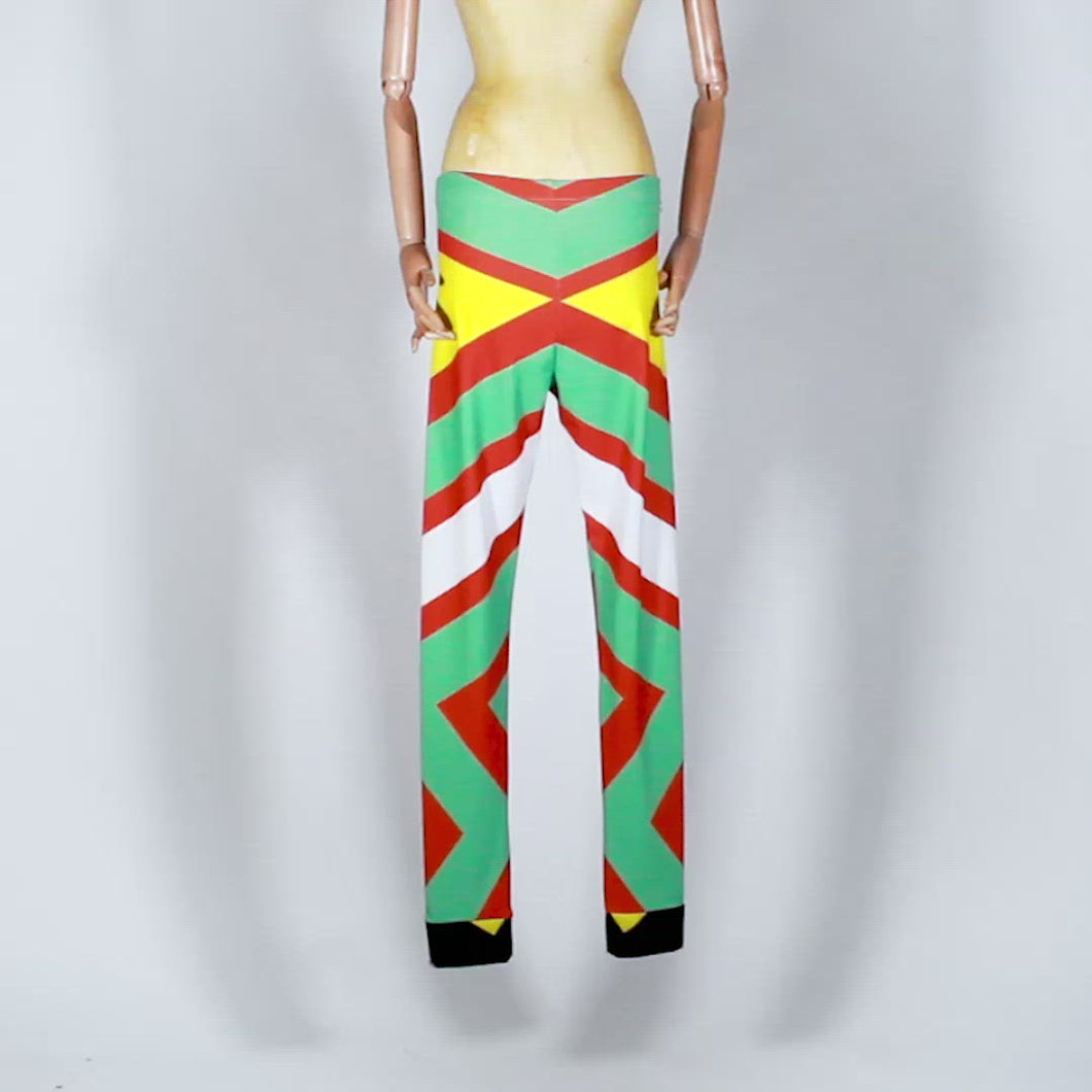 EXCLUSIVE TOM VAN DER BORGHT Legging red green yellow black printed polyester