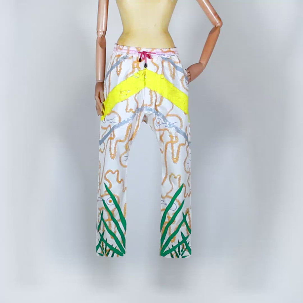 EXCLUSIVE TOM VAN DER BORGHT Embroidered white pants with yellow sequins and green herbs coton