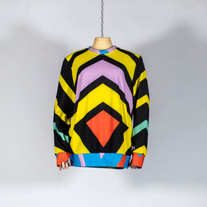 EXCLUSIVE TOM VAN DER BORGHT Sweater red green blue yellow printed polyester