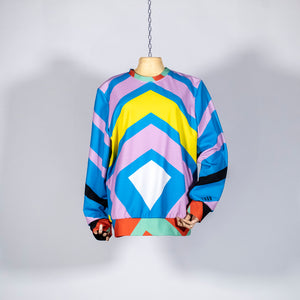EXCLUSIVE TOM VAN DER BORGHT Sweater yellow blue purple green red white printed polyester