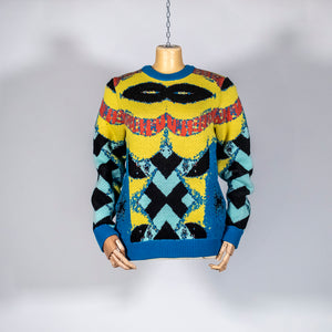 EXCLUSIVE TOM VAN DER BORGHT Knitted sweater base yellow blue black in wool