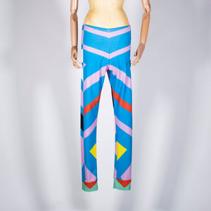 EXCLUSIVE TOM VAN DER BORGHT Legging blue purple red white printed polyester
