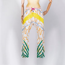 Load image into Gallery viewer, EXCLUSIVE TOM VAN DER BORGHT Embroidered white pants with yellow sequins and green herbs coton