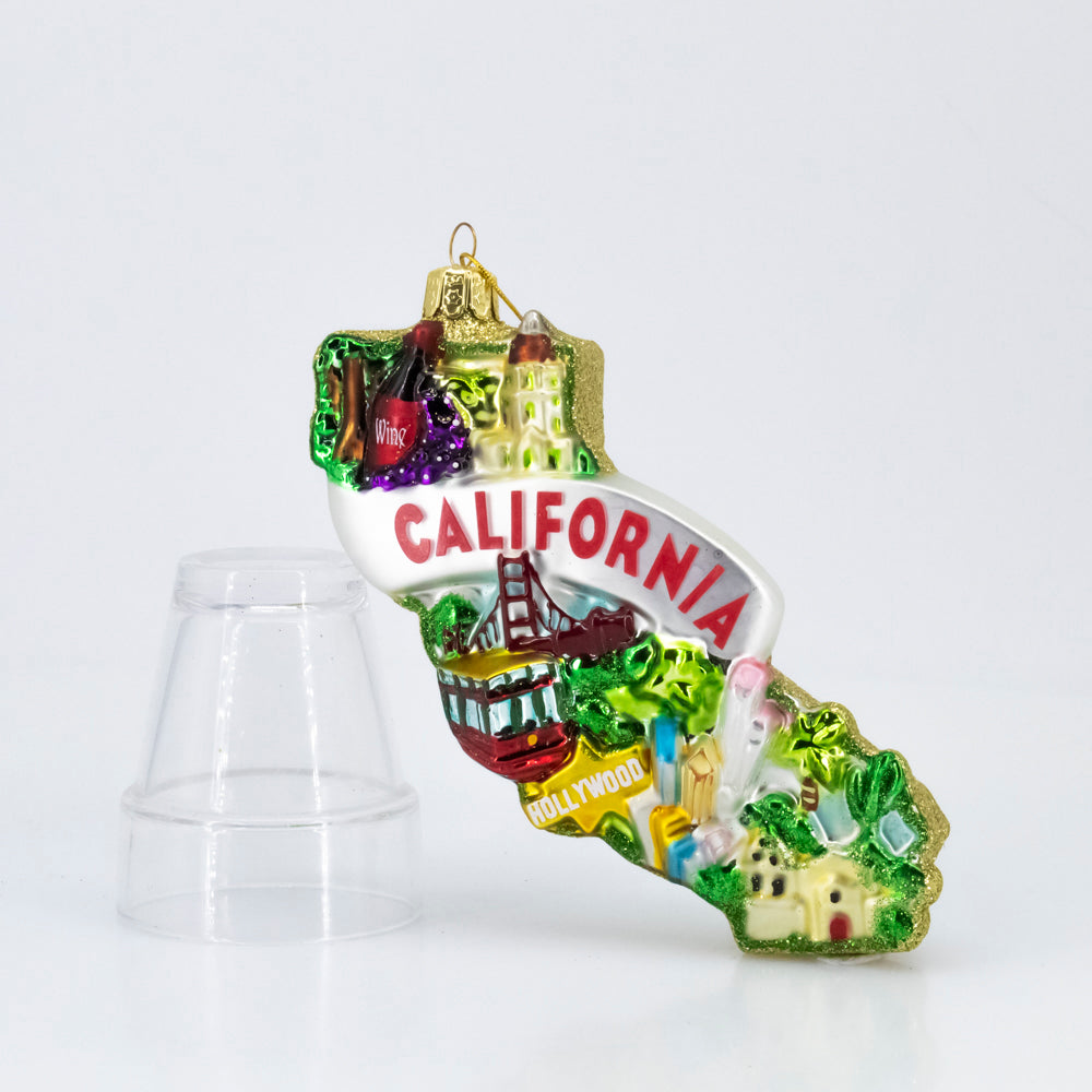 GLASS CALIFORNIA ORNAMENT