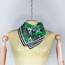 Load and play video in Gallery viewer, Green Flower Silk Scarf