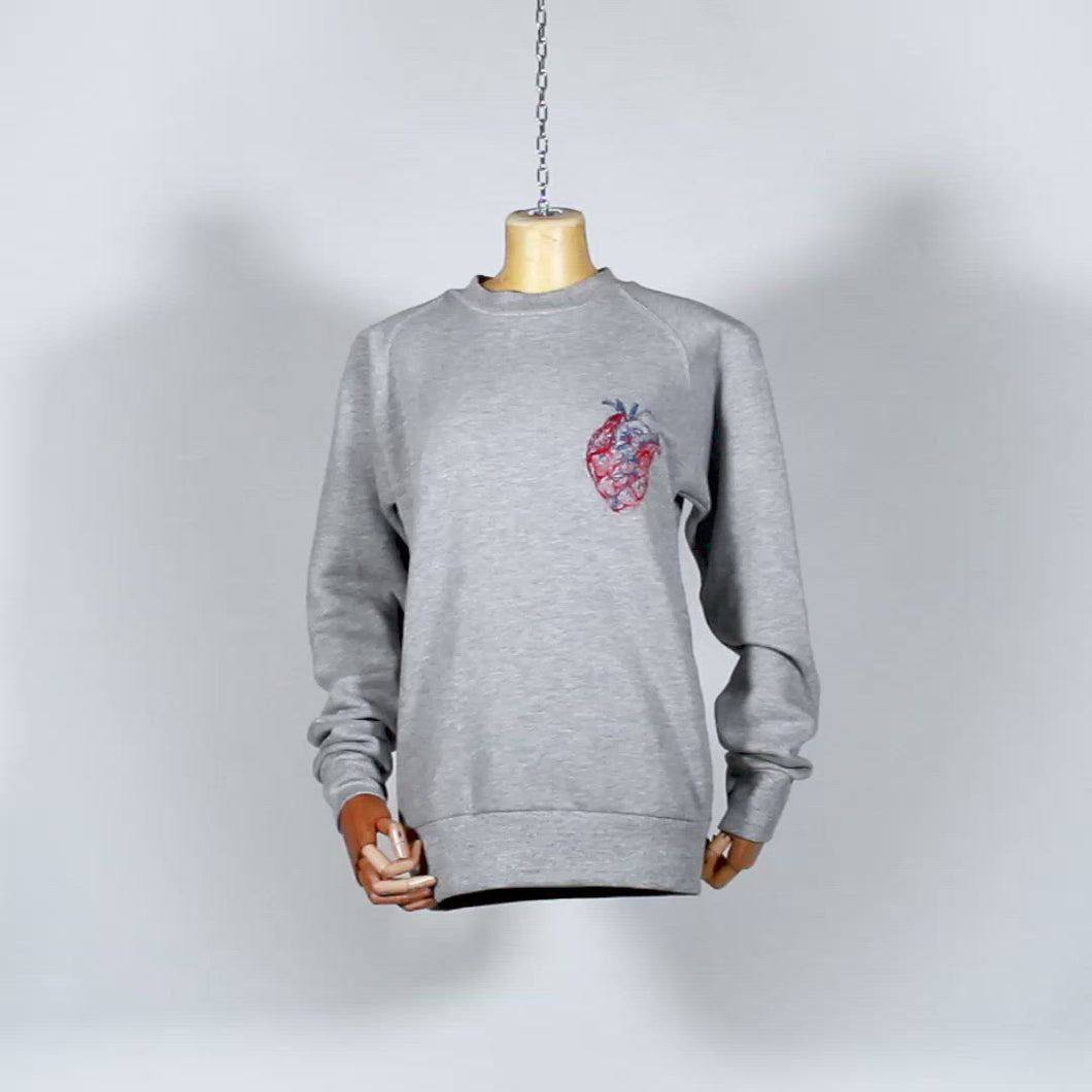 EXCLUSIVE DARE!REDA ONE OF A KIND PIECE : Sweat shirt gris brodé