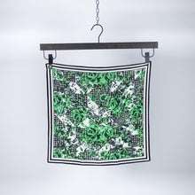 Load image into Gallery viewer, Green Flower Silk Scarf