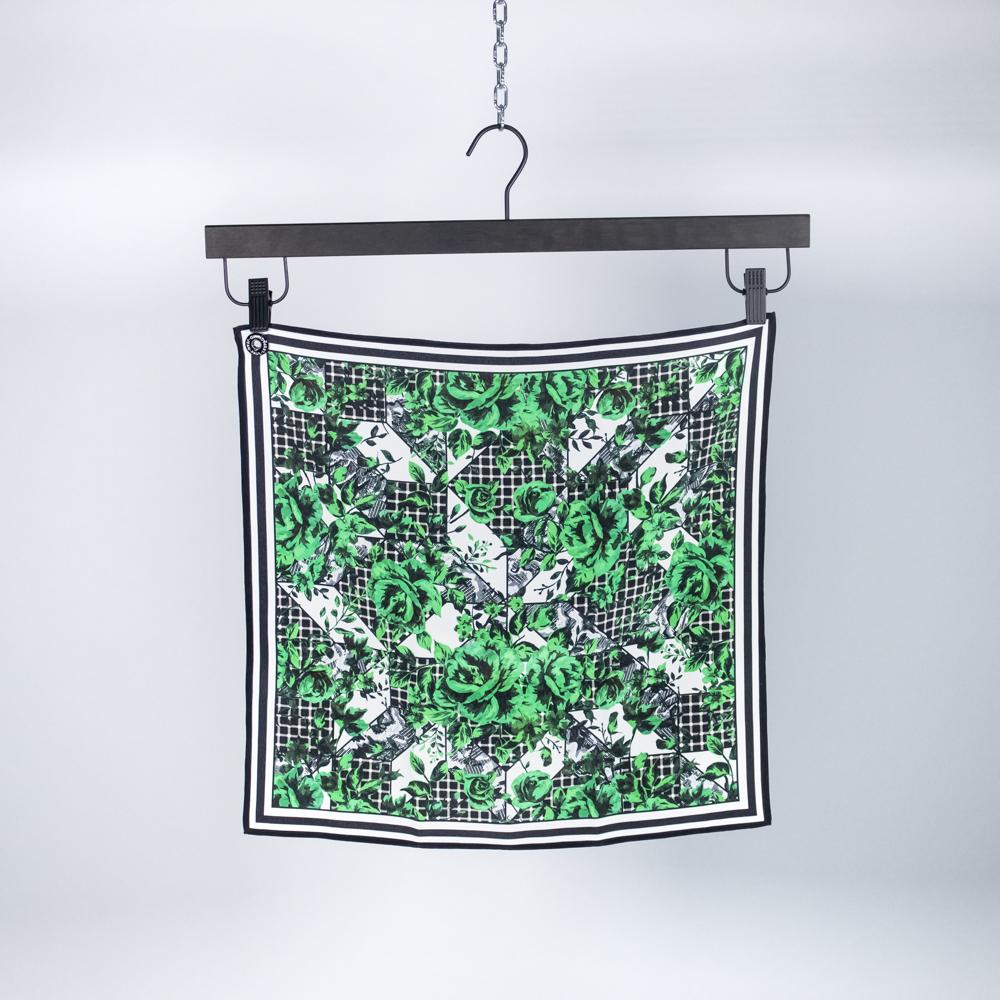 Green Flower Silk Scarf