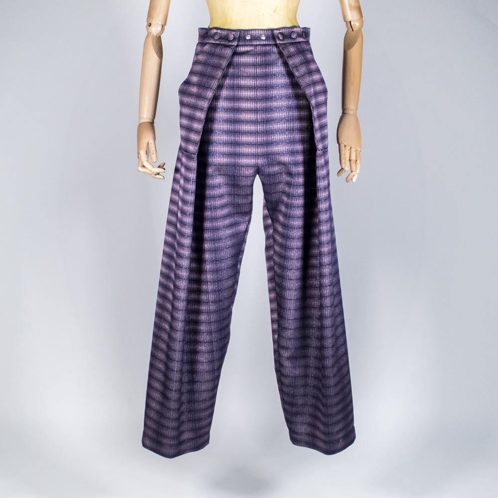 Two Pleats Pants - Special Edition - Lurex Check Purple