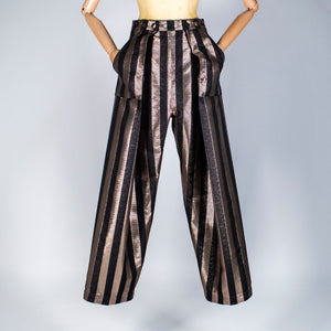 Two Pleats Pants - Special Edition - Lurex Stripes Gold