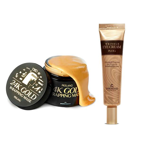 piolang 24k gold wrapping face mask and the skin house eye cream plus set