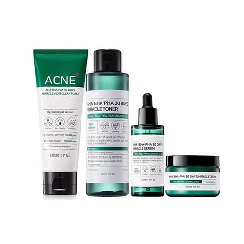 some by mi acne clear foam cleanser aha bha pha miracle toner serum cream set
