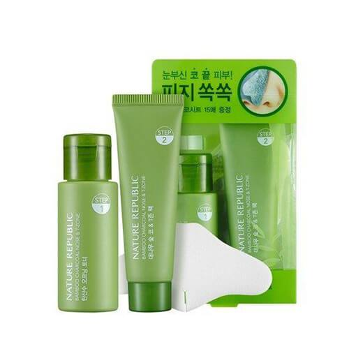 Nature Republic Nose & T-Zone Pore Care Kit Bamboo Charcoal