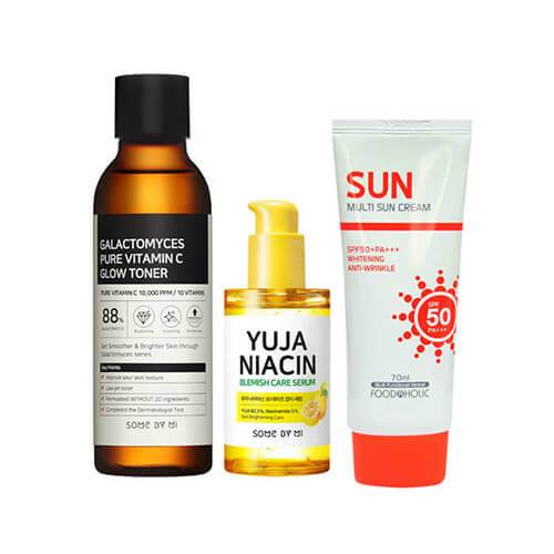 Somebymi Galactomyces Toner + Yuja Niacin Serum + FoodaHolic Multi Sun Care SET
