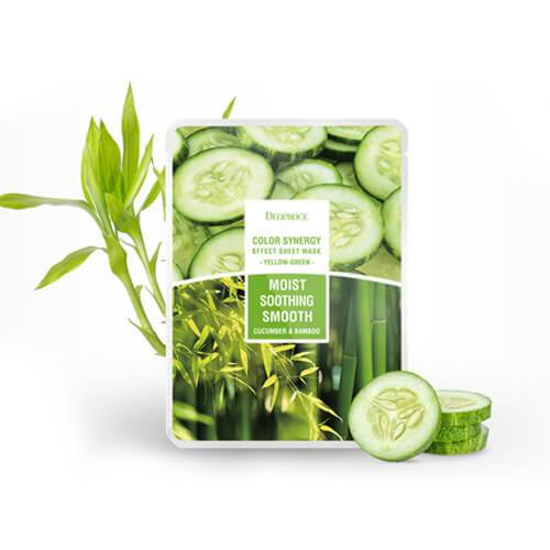 DEOPROCE Color Synergy Mask YELLOW GREEN : Cucumber and Bamboo,1pc
