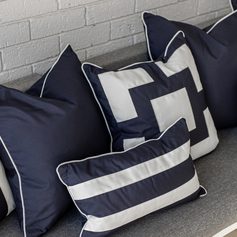 KIRRA Dark Blue and White Panel Plain Outdoor Cushion Cover