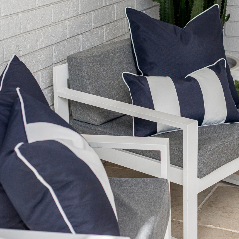 Mirage Haven KIRRA Dark Blue and White Double Stripe Outdoor Cushion Cover
