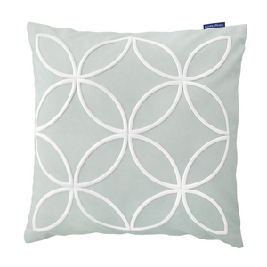 Mirage Haven DARLEY Fog Blue and White Circle Embroidered Velvet Cushion Cover
