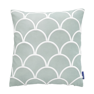 Mirage Haven DARLEY Fog Blue and White Scallop Embroidered Velvet Cushion Cover