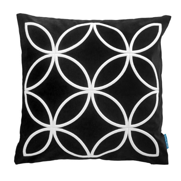 Mirage Haven DARLEY Black and White Circle Pattern Embroidered Velvet Cushion Cover 50 cm by 50 cm