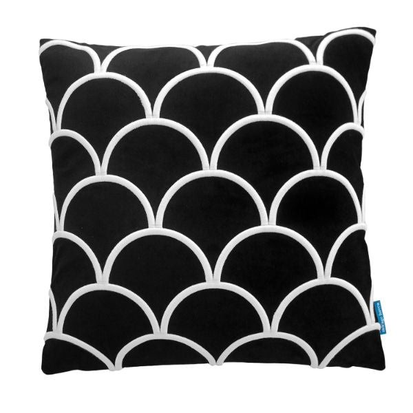 Mirage Haven DARLEY Black and White Scallop Embroidered Velvet Cushion Cover 50 cm by 50 cm