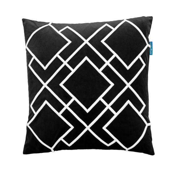 Mirage Haven DARLEY Black and White Squares Embroidered Velvet Cushion Cover 50 cm by 50 cm