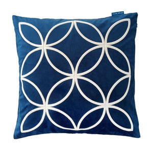 Mirage Haven DARLEY Dark Blue and White Circle Embroidered Velvet Cushion Cover 50 cm by 50 cm