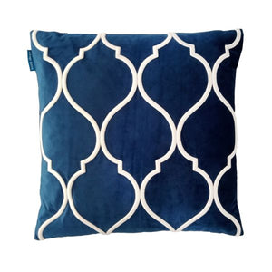 Mirage Haven DARLEY Dark Blue and White Trellis Embroidered Velvet Cushion Cover 50 cm by 50 cm