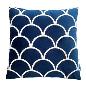 Mirage Haven DARLEY Dark Blue and White Scallop Embroidered Velvet Cushion Cover 50 cm by 50 cm