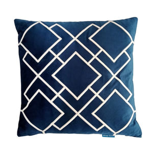 Mirage Haven DARLEY Dark Blue and White Squares Embroidered Velvet Cushion Cover 50 cm by 50 cm