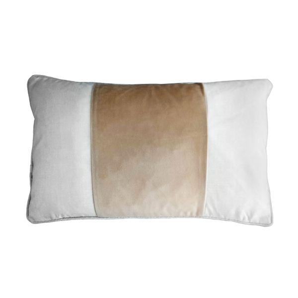 Mirage Haven BADEN Beige and White Panel Velvet Cushion Cover 30 cm by 50 cm