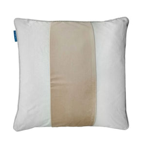 Mirage Haven BADEN Beige and White Panel Velvet Cushion Cover 50 cm by 50 cm