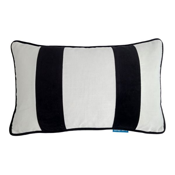 Mirage Haven BADEN White and Black Velvet Twin Strip Cushion Cover 30 cm by 50 cm
