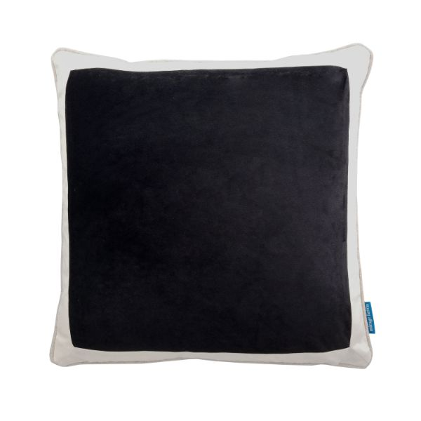 Mirage Haven CALDER Black and White Border Velvet Cushion Cover 50 cm by 50 cm