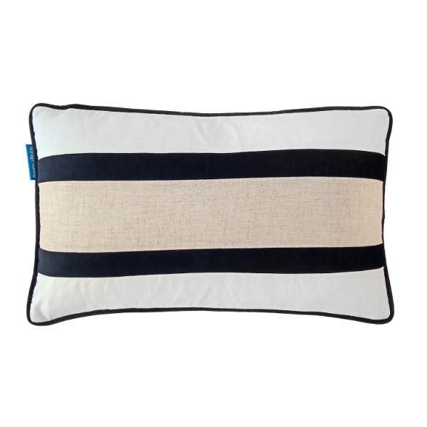 Mirage Haven CALDER Black and Jute Double Strip Velvet Cushion Cover 30 cm by 50 cm