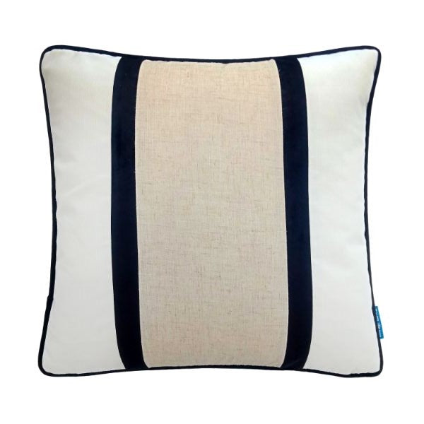 Mirage Haven CALDER Black and Jute Double Strip Velvet Cushion Cover 50 cm by 50 cm