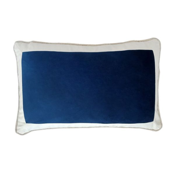 Mirage Haven CALDER Dark Blue and White Border Velvet Cushion Cover 30 cm by 50 cm