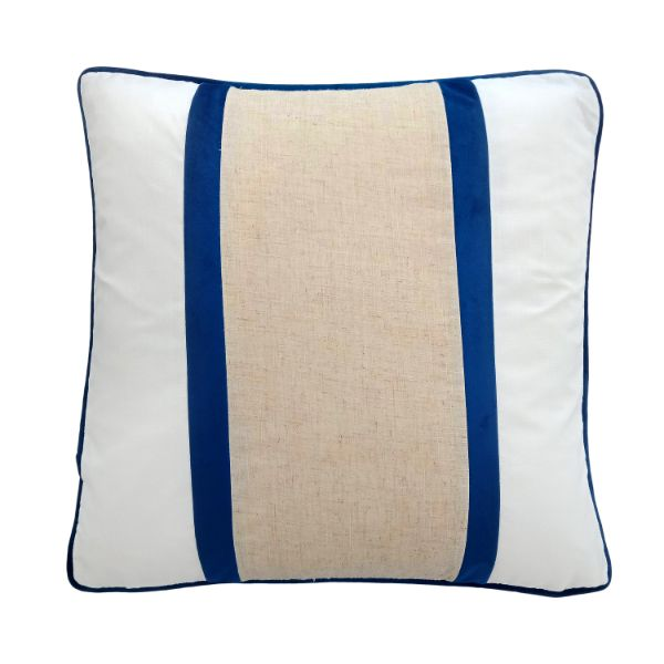 Mirage Haven CALDER Dark Blue and Jute Double Strip Velvet Cushion Cover 50 cm by 50 cm