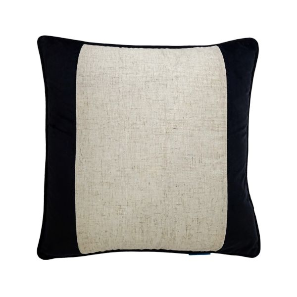 Mirage Haven FLYNN Black and Jute Wide Panel Velvet Cushion Cover 50 cm by 50 cm