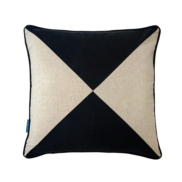 Mirage Haven FLYNN Black and Jute Cross Panel Velvet Cushion Cover 50 cm by 50 cm