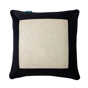 Mirage Haven FLYNN Black and Jute Thick Border Velvet Cushion Cover 50 cm by 50 cm