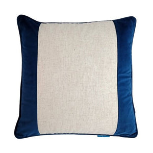 Mirage Haven FLYNN Dark Blue and Jute Wide Panel Velvet Cushion Cover 50 cm by 50 cm