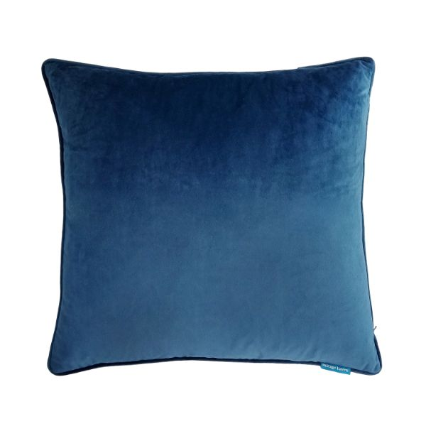 Mirage Haven FLYNN Dark Blue and Jute Reversible Velvet Cushion Cover 55 cm by 55 cm