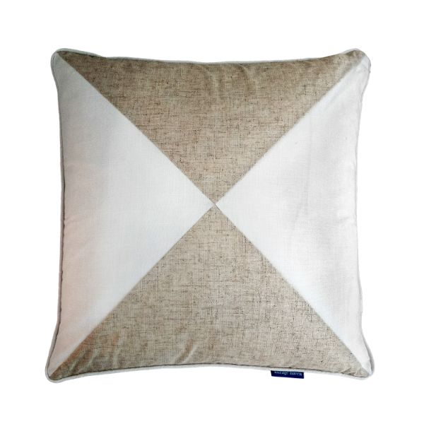 Mirage Haven EASTWOOD Silver and White Block Colour Cushion Cover 50 cm by 50 cm