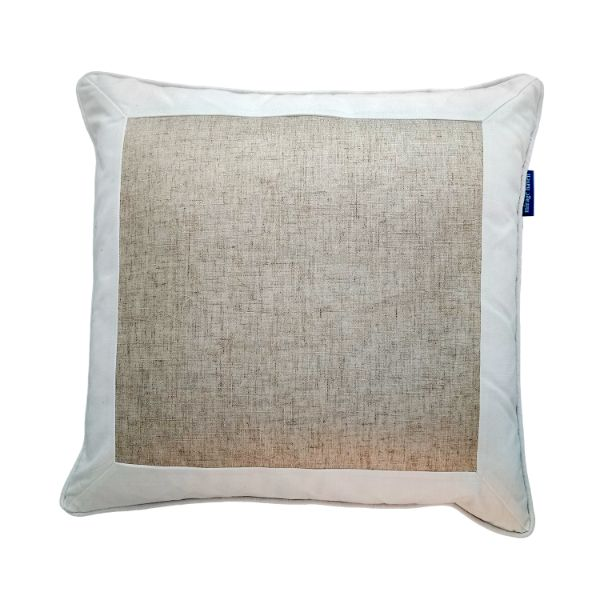 Mirage Haven EASTWOOD White and Jute Thick Border Cushion Cover 50 cm by 50 cm