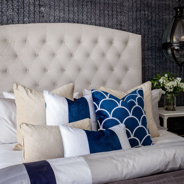 Mirage Haven BADEN Dark Blue and White Panel Velvet Cushion Cover 30 cm by 50 cm